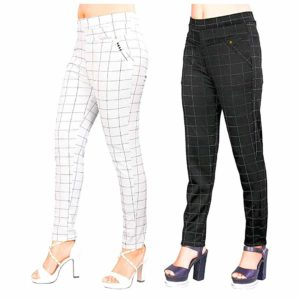 Women's Cotton Silk Check Jegging (30 to 34, Grey, Large) -Combo Pack of 2