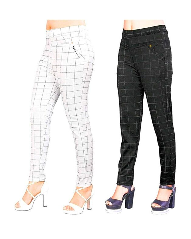Women's Cotton Silk Check Jegging Combo Pack of 2 Colour: Grey Size: Large