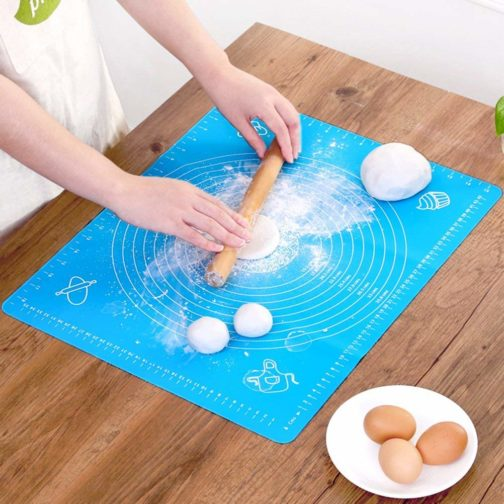 Mat with pre-marked circles helps you get the perfect amount of fondant or dough and the easy-glide material allows you to rotate the mat as you roll Light weight, easy to clean and use. Will keep your worktop clean. No more scrapping dough or fondant off the worktop Ideal for Kneading, Rolling, and Shaping Breads, Pizza Dough's, Pastas, Pastries, Pie Crusts and fondants. Provides a Clean Extra-Large Baking or Cooking Preparation Surface. Makes the Perfect Gift! Great surface for kneading dough or rolling out dough and pastries