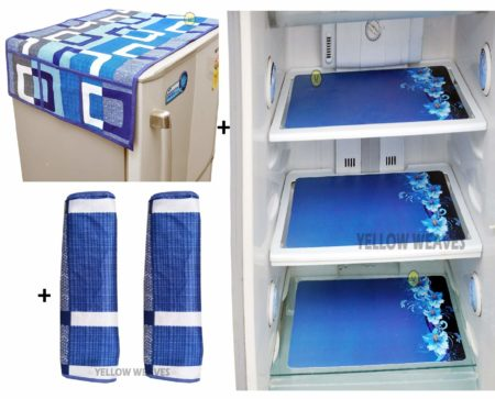 Content - 3 pieces of mat, Fridge Top Cover & 2 Handle Cover, Material :Polyester & PVC, Color- Blue Product Dimension : Fridge Top Cover - 38.5 X 21.5 Inches, Fridge Handle Cover - 14 X 6 Inches, Fridge mat : 11 X 17 Inches Multipurpose mats for Refrigerator, Drawers, Shelves and Dining Table. Protect from Scratches, Spots & Dirt, Made of high quality and durable PVC Material Care Instruction - Easy to clean & wash with water