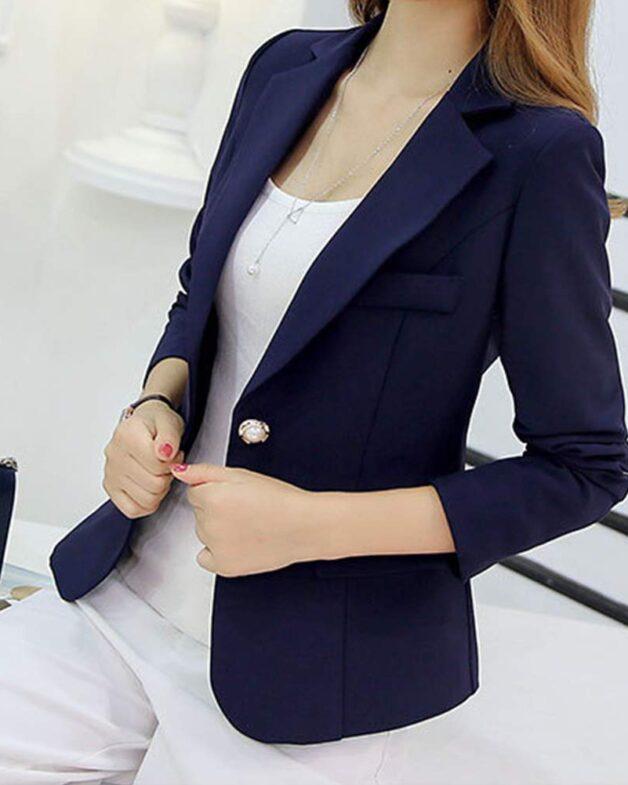 Leoie Blazers Women's Slim Casual Suit blue
