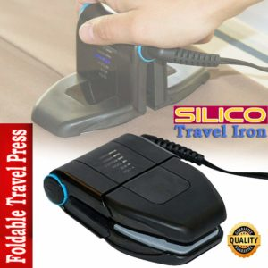 Silico Compact Folding Travel Iron Foldable Mini Sleek Handheld Travelling Business Trips Press (Black)
