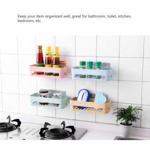 Multipurpose Kitchen Bathroom Shelf Wall Holder Storage Rack Bathroom Rack Storage Box Strong Suction Shower Rack Shelf