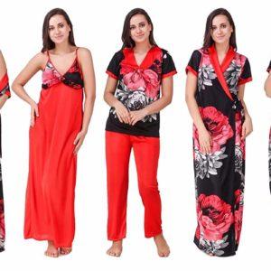Best Satin Floral Printed Nighty Set – Pack of 5