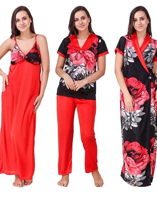Satin Floral Printed Nighty 5 Set