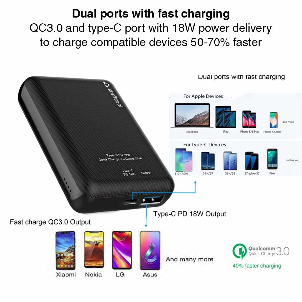 Stuffcool Type C 18W Power delivery 10000 mAh Dual USB Fast Charging Li Polymer Mini Power Bank Quick Charging QC3.0