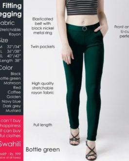 Fitting jeggings Stretchable Bottle Green